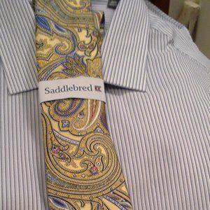 NEW TIE SADDLEBRED PAISLEY BLUE  GOLD FATHERS DAY